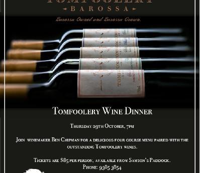 PAST : Tomfoolery Wine Dinner