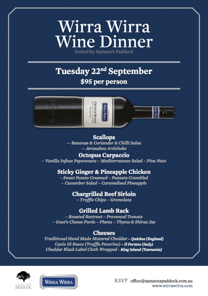 Samson's Paddock Wine Dinner